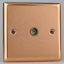 Varilight Urban Polished Copper 1 Gang Co-Axial TV Socket