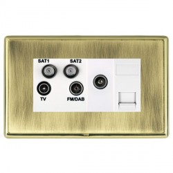Hamilton Linea-Rondo CFX Polished Brass/Antique Brass TV+FM+SAT+SAT (DAB Compatible)+TV+TCS with White In...