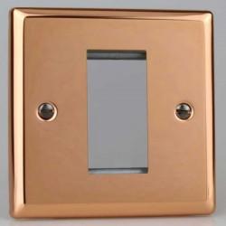 Varilight Urban Polished Copper 1 Gang Single Aperture DataGrid Faceplate