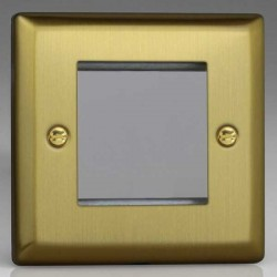 Varilight Urban Brushed Brass 1 Gang Twin Aperture DataGrid Faceplate