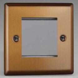 Varilight Urban Brushed Bronze 1 Gang Twin Aperture DataGrid Faceplate