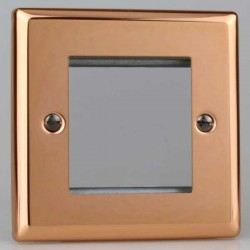 Varilight Urban Polished Copper 1 Gang Twin Aperture DataGrid Faceplate