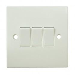 BG White PVC 3 Gang 2 Way Switch