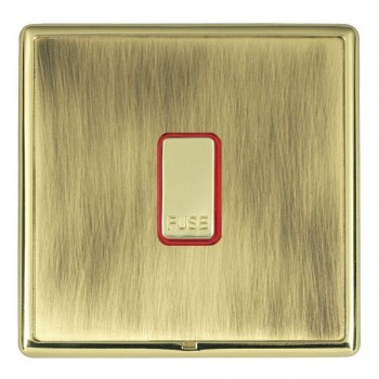 Hamilton Linea-Rondo CFX Polished Brass/Antique Brass 1 Gang 13A Fuse + Red Neon Halo with Red Insert