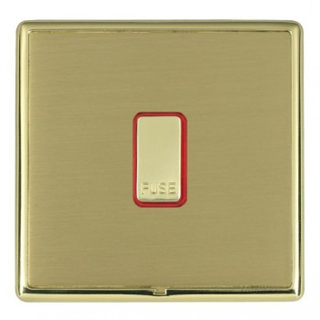 Hamilton Linea-Rondo CFX Polished Brass/Satin Brass 1 Gang 13A Fuse + Red Neon Halo with Red Insert