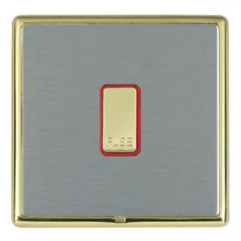 Hamilton Linea-Rondo CFX Polished Brass/Satin Steel 1 Gang 13A Fuse + Red Neon Halo with Red Insert