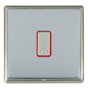 Hamilton Linea-Rondo CFX Satin Nickel/Bright Steel 1 Gang 13A Fuse + Red Neon Halo with Red Insert