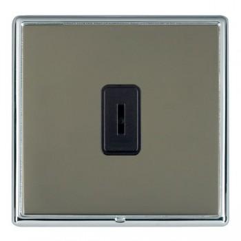 Hamilton Linea-Rondo CFX Bright Chrome/Black Nickel 1 Gang 2 Way Key Switch with Black Insert