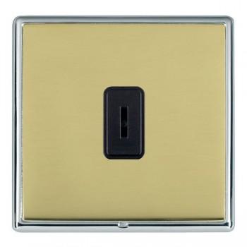 Hamilton Linea-Rondo CFX Bright Chrome/Polished Brass 1 Gang 2 Way Key Switch with Black Insert