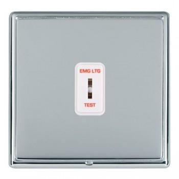 Hamilton Linea-Rondo CFX Bright Chrome/Bright Steel 1 Gang 2 Way Key Switch 'EMG LTG TEST' with White Insert