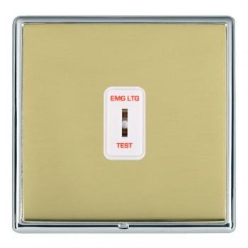 Hamilton Linea-Rondo CFX Bright Chrome/Polished Brass 1 Gang 2 Way Key Switch 'EMG LTG TEST' with White Insert