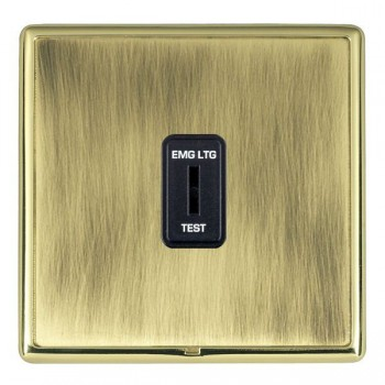 Hamilton Linea-Rondo CFX Polished Brass/Antique Brass 1 Gang 2 Way Key Switch 'EMG LTG TEST' with Black Insert