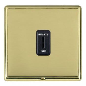 Hamilton Linea-Rondo CFX Polished Brass/Polished Brass 1 Gang 2 Way Key Switch 'EMG LTG TEST' with Black Insert