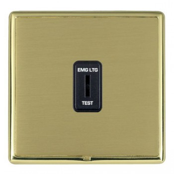 Hamilton Linea-Rondo CFX Polished Brass/Satin Brass 1 Gang 2 Way Key Switch 'EMG LTG TEST' with Black Insert