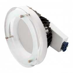 Ovia Inceptor Iona 190mm 20W Colour Temp Adjustable White Fixed LED Downlight with Drop Glass