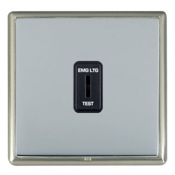 Hamilton Linea-Rondo CFX Satin Nickel/Bright Steel 1 Gang 2 Way Key Switch 'EMG LTG TEST' with Black Insert