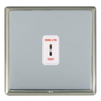 Hamilton Linea-Rondo CFX Satin Nickel/Bright Steel 1 Gang 2 Way Key Switch 'EMG LTG TEST' with White Insert