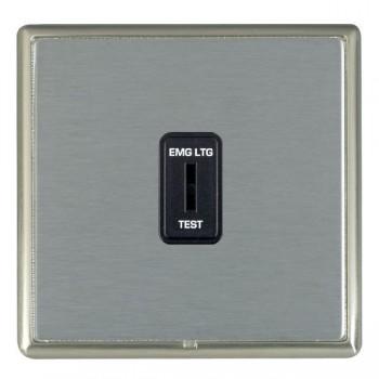 Hamilton Linea-Rondo CFX Satin Nickel/Satin Steel 1 Gang 2 Way Key Switch 'EMG LTG TEST' with Black Insert