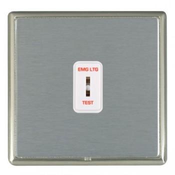 Hamilton Linea-Rondo CFX Satin Nickel/Satin Steel 1 Gang 2 Way Key Switch 'EMG LTG TEST' with White Insert