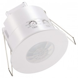 Ovia 360° Recessed Flush IP20 White PIR Sensor with Override