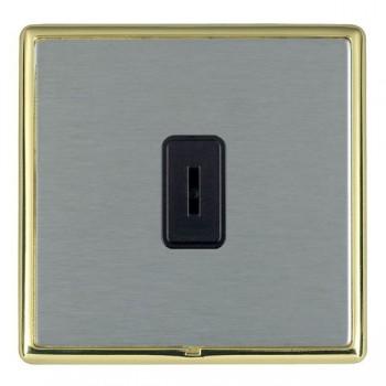 Hamilton Linea-Rondo CFX Polished Brass/Satin Steel 1 Gang 2 Way Key Switch with Black Insert
