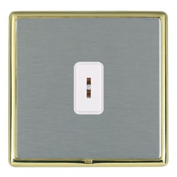 Hamilton Linea-Rondo CFX Polished Brass/Satin Steel 1 Gang 2 Way Key Switch with White Insert
