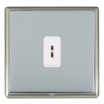 Hamilton Linea-Rondo CFX Satin Nickel/Bright Steel 1 Gang 2 Way Key Switch with White Insert