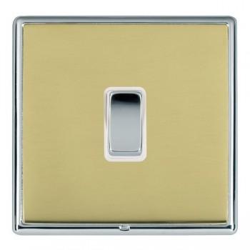Hamilton Linea-Rondo CFX Bright Chrome/Polished Brass 1 Gang 20amp 2 Way Rocker with White Insert