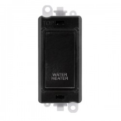 Click GridPro Black 20AX DP Switch Module Marked 'WATER HEATER' with Black Insert