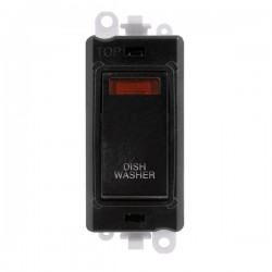 Click GridPro Black 20AX DP Switch Module Marked 'DISHWASHER' with Neon and Black Insert