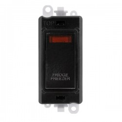 Click GridPro Black 20AX DP Switch Module Marked 'FRIDGE FREEZER' with Neon and Black Insert