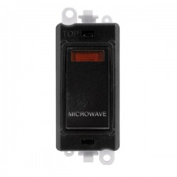 Click GridPro Black 20AX DP Switch Module Marked 'MICROWAVE' with Neon and Black Insert