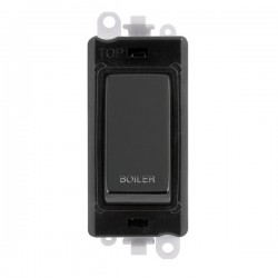 Click GridPro Black Nickel 20AX DP Switch Module Marked 'BOILER' with Black Insert