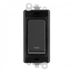 Click GridPro Black Nickel 20AX DP Switch Module Marked 'FAN' with Black Insert