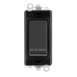 Click GridPro Black Nickel 20AX DP Switch Module Marked 'MICROWAVE' with Black Insert