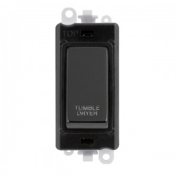 Click GridPro Black Nickel 20AX DP Switch Module Marked 'TUMBLE DRYER' with Black Insert