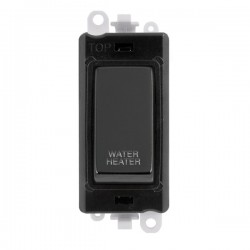 Click GridPro Black Nickel 20AX DP Switch Module Marked 'WATER HEATER' with Black Insert