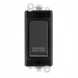 Click GridPro Black Nickel 20AX DP Switch Module Marked 'WASHING MACHINE' with Black Insert