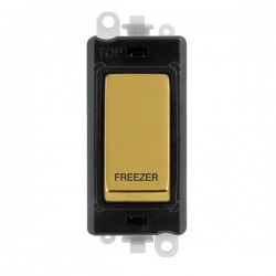 Click GridPro Polished Brass 20AX DP Switch Module Marked 'FREEZER' with Black Insert