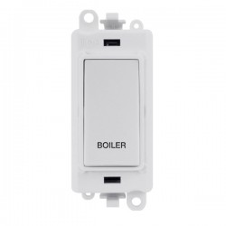 Click GridPro Polar White 20AX DP Switch Module Marked 'BOILER' with White Insert