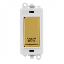 Click GridPro Polished Brass 20AX DP Switch Module Marked 'COOKER HOOD' with White Insert