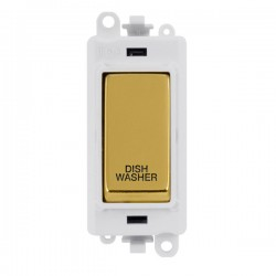 Click GridPro Polished Brass 20AX DP Switch Module Marked 'DISHWASHER' with White Insert