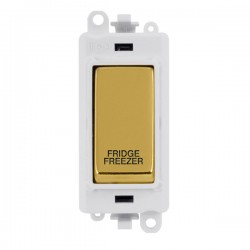 Click GridPro Polished Brass 20AX DP Switch Module Marked 'FRIDGE FREEZER' with White Insert