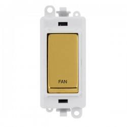 Click GridPro Polished Brass 20AX DP Switch Module Marked 'FAN' with White Insert