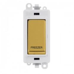 Click GridPro Polished Brass 20AX DP Switch Module Marked 'FREEZER' with White Insert
