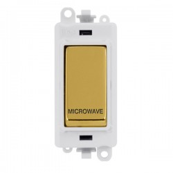 Click GridPro Polished Brass 20AX DP Switch Module Marked 'MICROWAVE' with White Insert