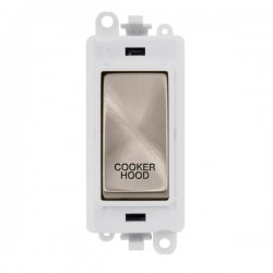 Click GridPro Brushed Stainless 20AX DP Switch Module Marked 'COOKER HOOD' with White Insert