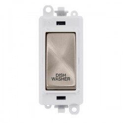 Click GridPro Brushed Stainless 20AX DP Switch Module Marked 'DISHWASHER' with White Insert