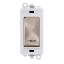 Click GridPro Brushed Stainless 20AX DP Switch Module Marked 'FRIDGE' with White Insert
