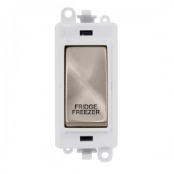 Click GridPro Brushed Stainless 20AX DP Switch Module Marked 'FRIDGE FREEZER' with White Insert